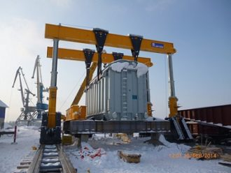 Transformer shifted and loaded onto a rail transporter in Ufa