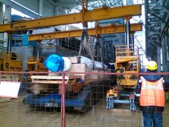 Установка в проектное положение ротора генератора GENERAL ELECTRIC в Казани