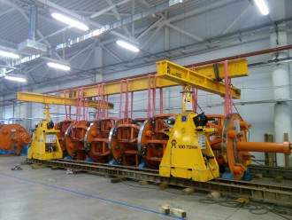 Equipment lifted and held in suspended position to carry out repair operations at Voronezh Cable Plant