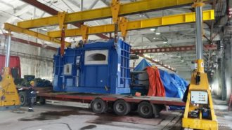 Melting furnace and three casting machines set to final position in Karelia