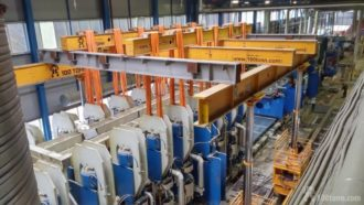 Rigging operations for shifting Dieffenbacher press parts