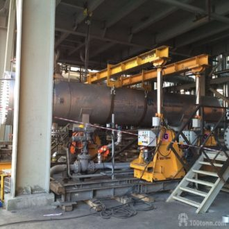 Heat exchanger and steam generator set to final position within the premises of Antipinsky Oil Refinery