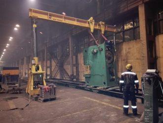 Simple action single point press unloaded, relocated and installed in Tikhvin, Leningradskaya Oblast
