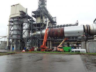 450-ton drum dryer lifted in Yegorievsk, Moskovskaya Oblast