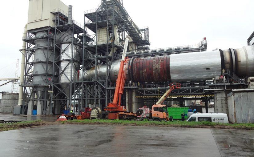 Подъем сушильного барабана массой 450 тонн в г. Егорьевск  Московской области