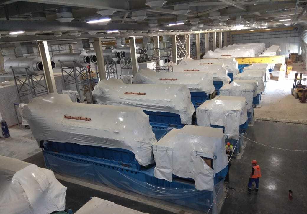 Сборка, установка и выверка по осям и уровню газопоршневых агрегатов Rolls-Royce