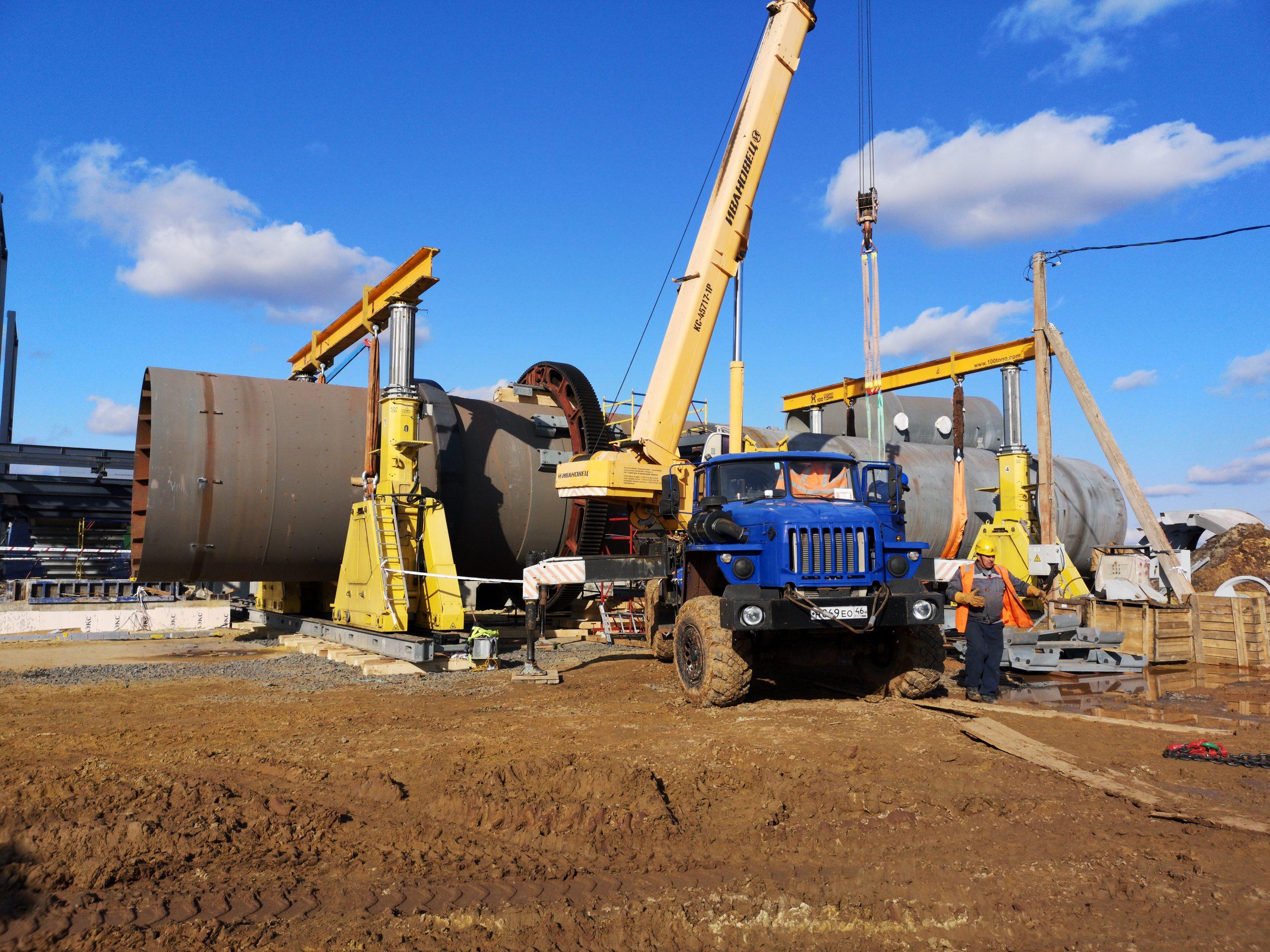 Монтаж оборудования комплекса сушки руды