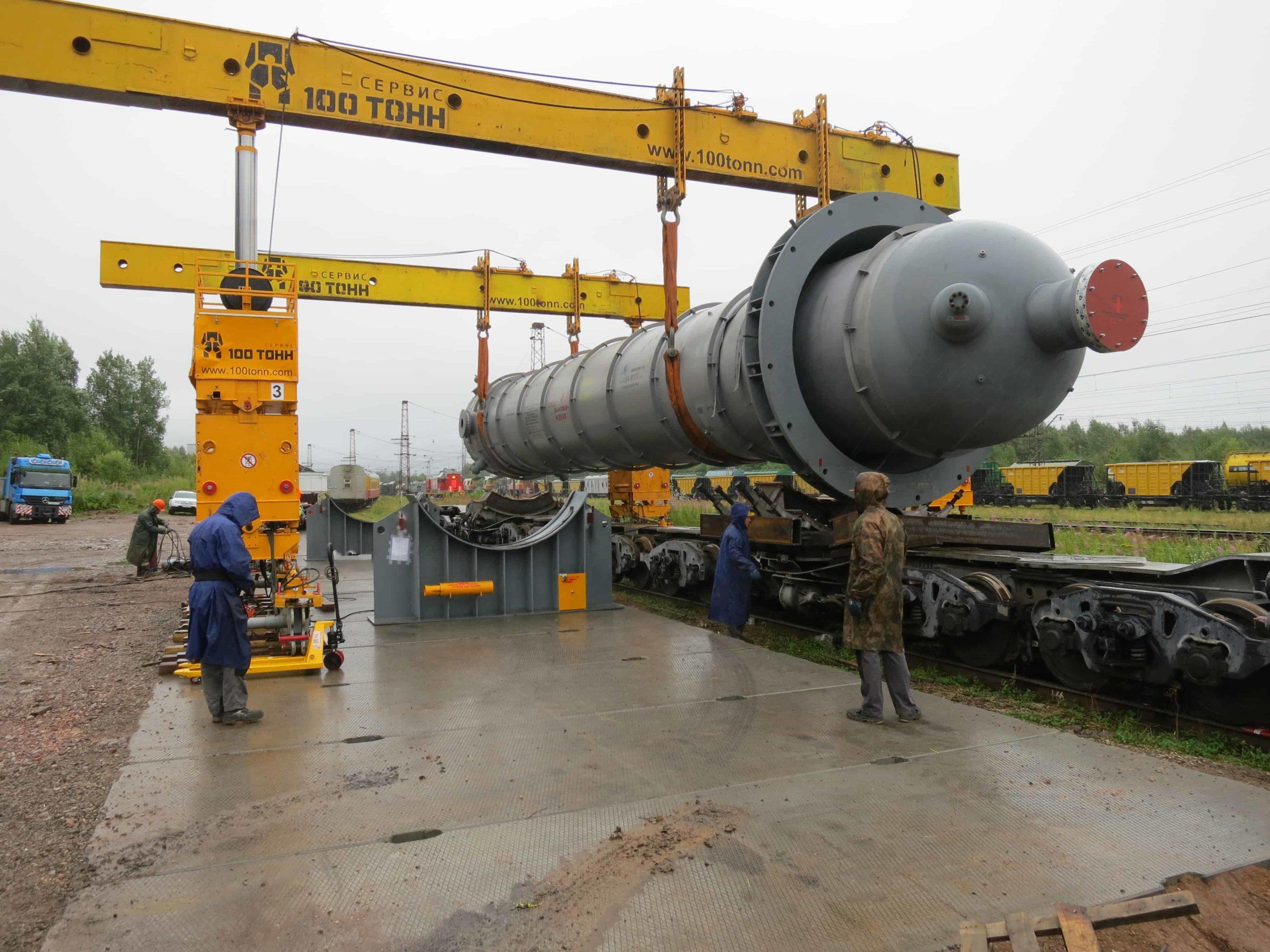 Перемещение реактора 20-R-1001 на жд станции Углеуральская Пермский край