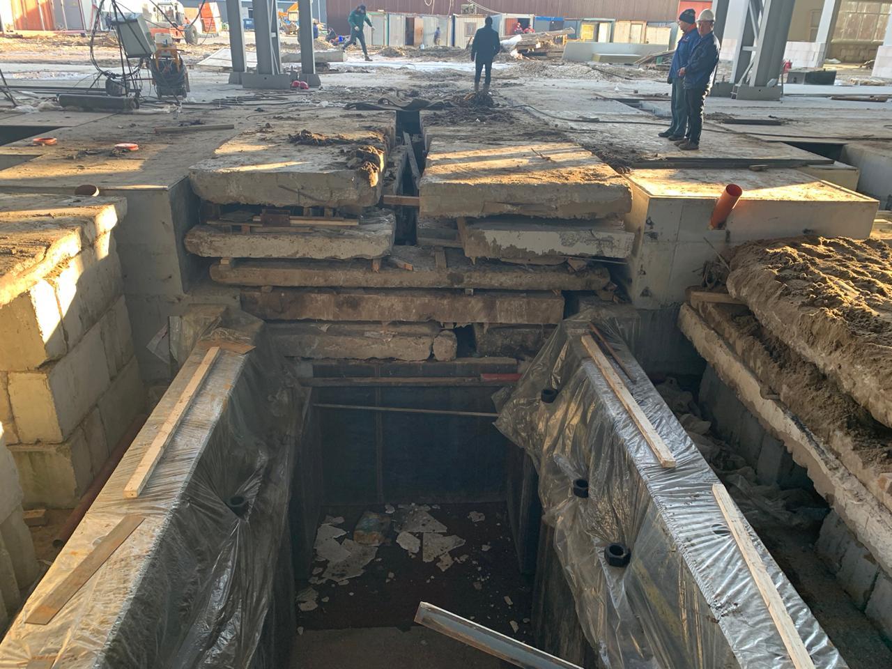 Подготовка фундамента в цехе холодного проката