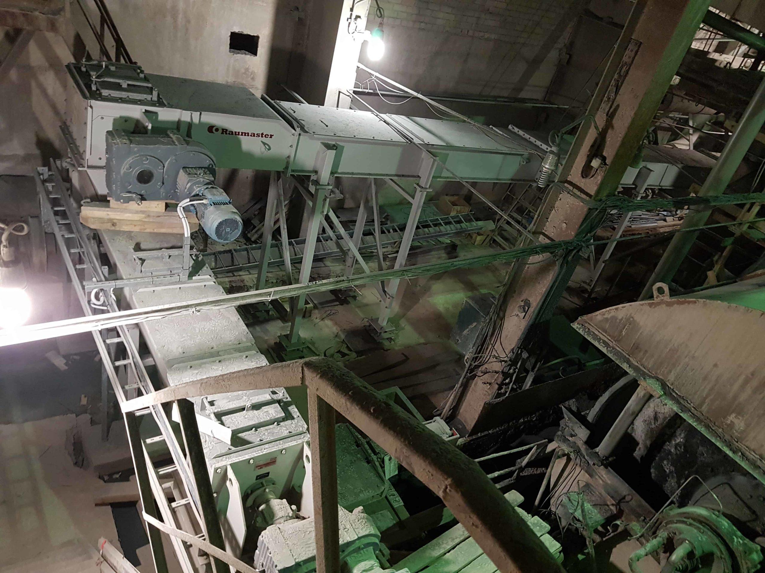 Смонтированные конвейеры шлама в ЦКРИ-3 Архангельского ЦБК