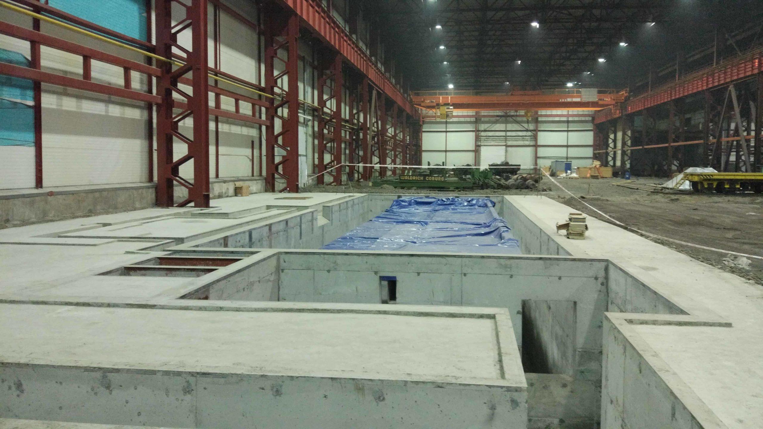 Такелаж бетонного блока фундамента станка WALDRICH SIEGEN