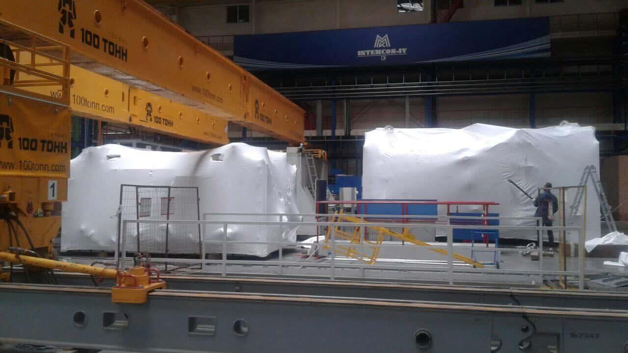 Упаковка и подготовка к погрузке негабаритных частей демонтированного оборудования