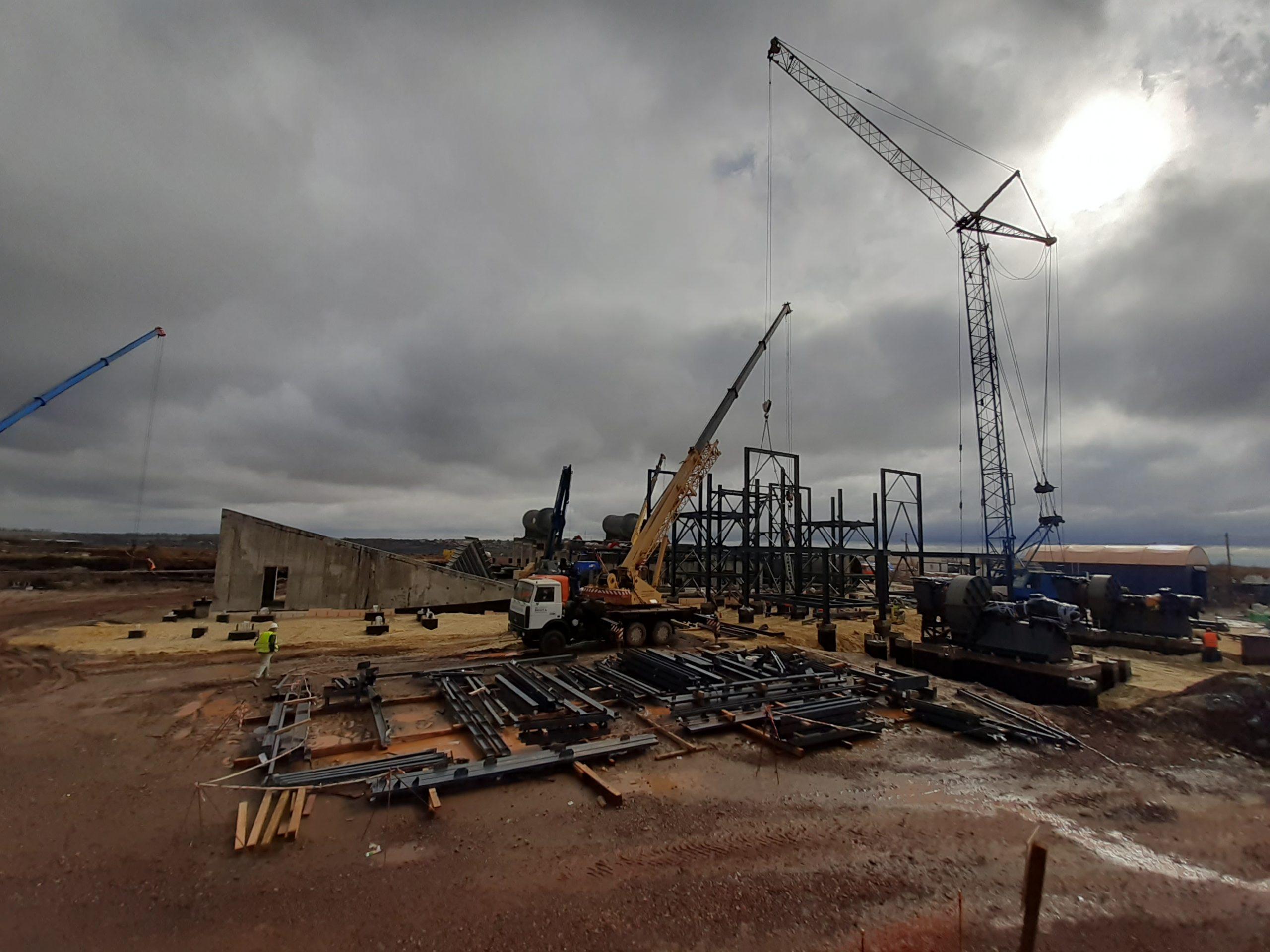 Возведение комплекса сушки руды и монтаж оборудования